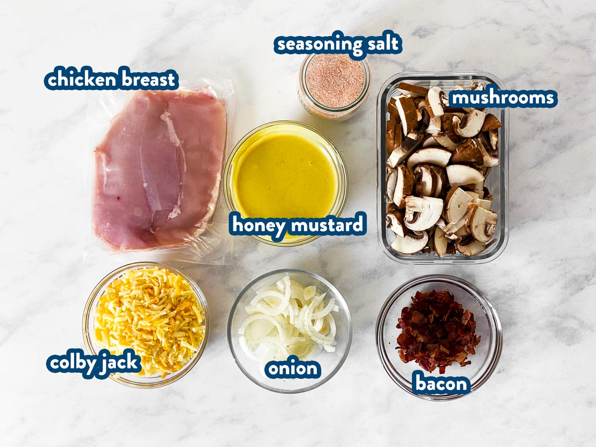 ingredients to make copycat Alice Springs chicken with text labels