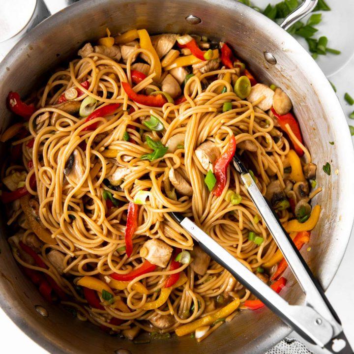 skillet with chicken lo mein