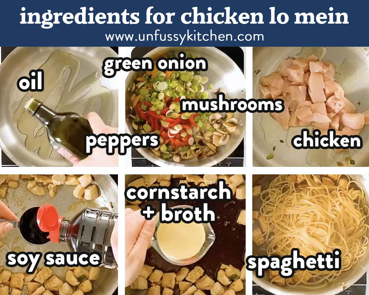 photo collage of lo mein ingredients
