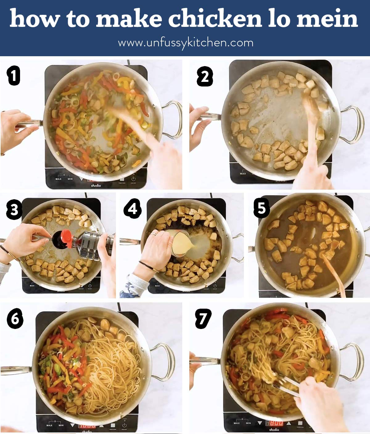 photo collage of steps to make chicken lo mein with text overlay