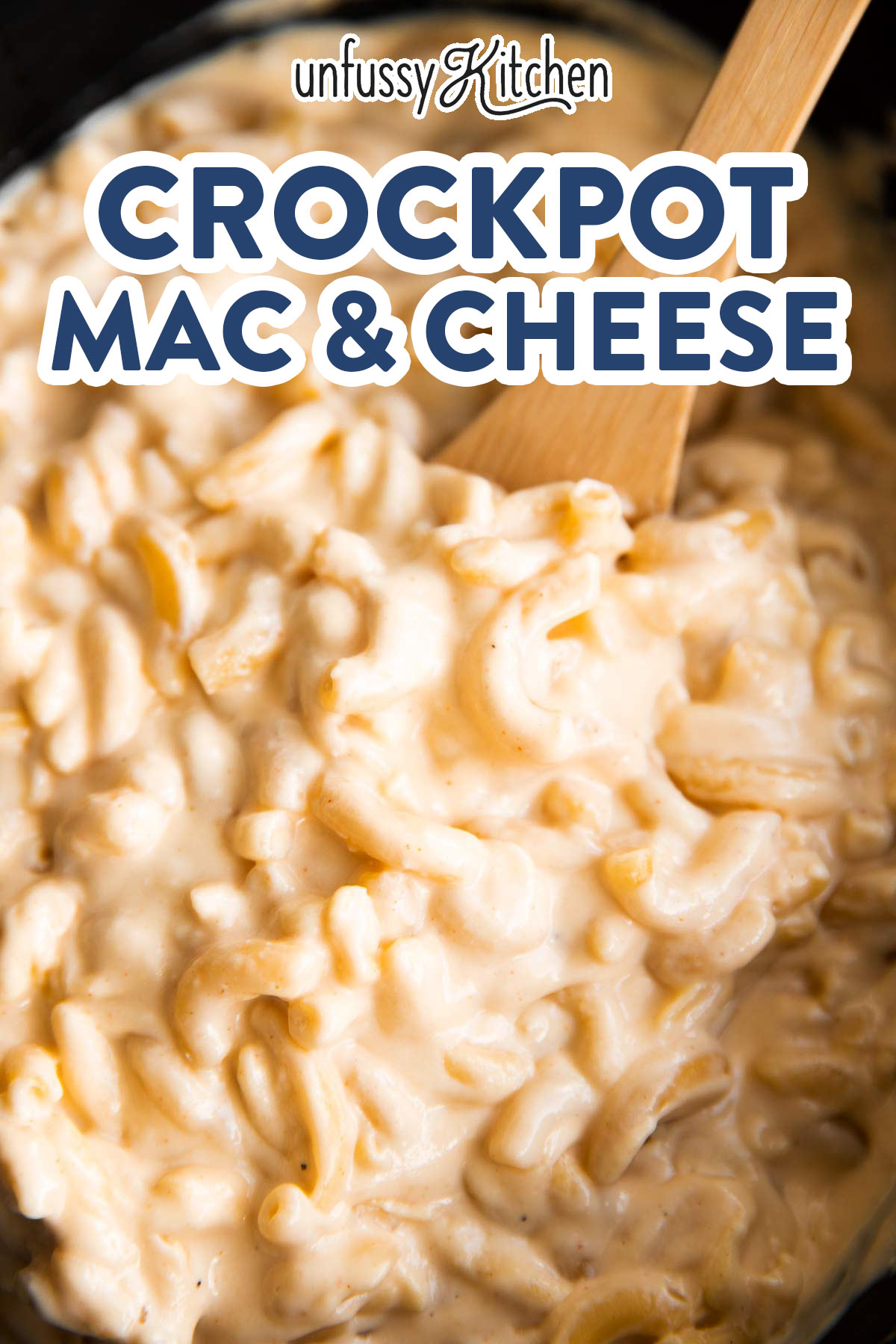 close up of macaroni cheese in a crockpot with text overlay