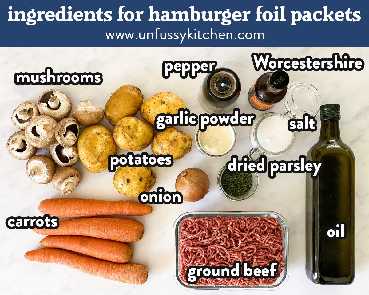 ingredients for hamburger foil packets with text labels