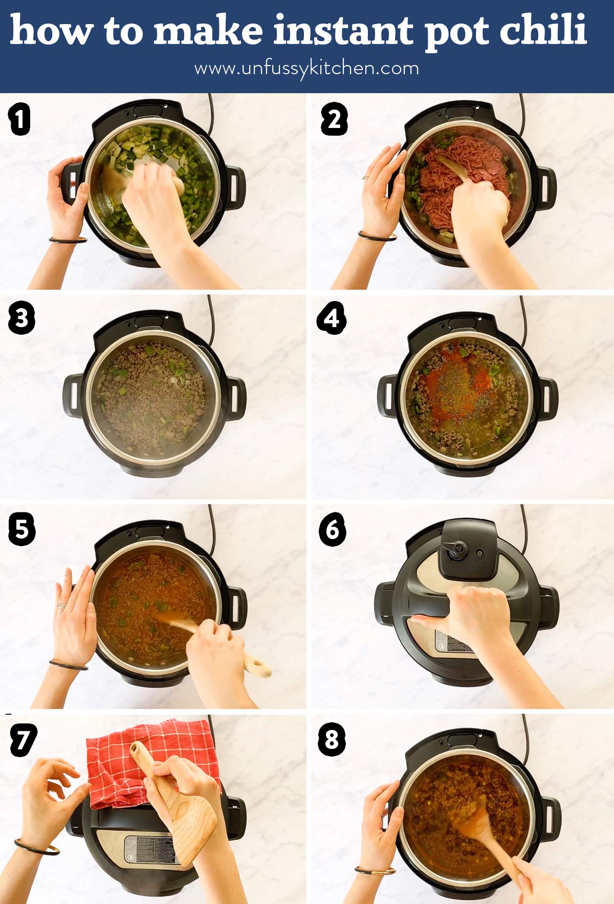 photo collage of steps to prepare instant pot chili