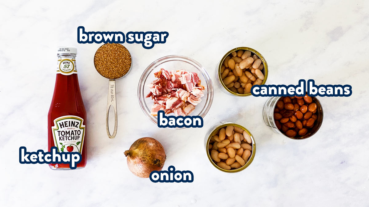 ingredients to make crockpot baked beans with text labels