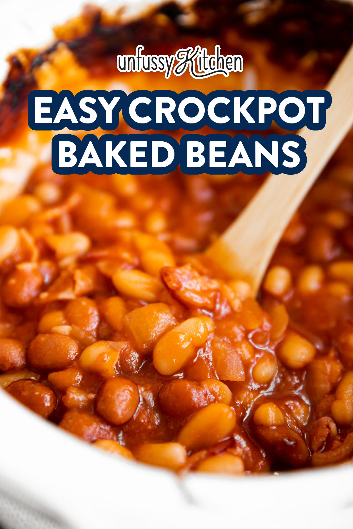 close up of crockpot baked beans with text overlay