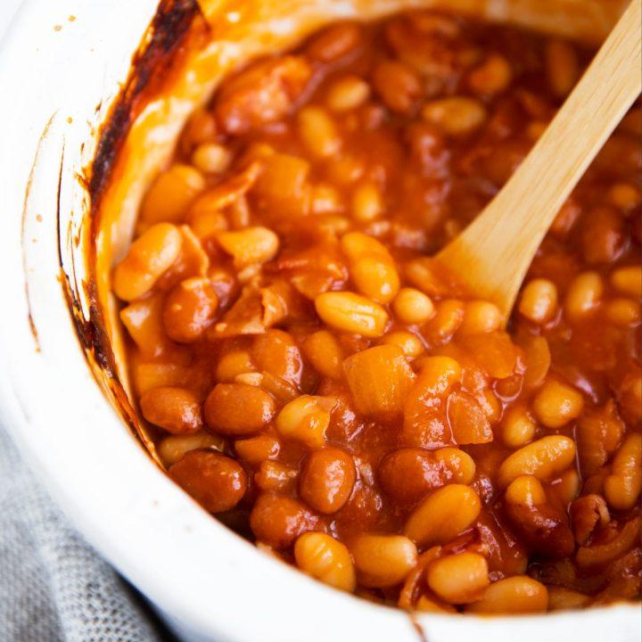 close up of crockpot baked beans