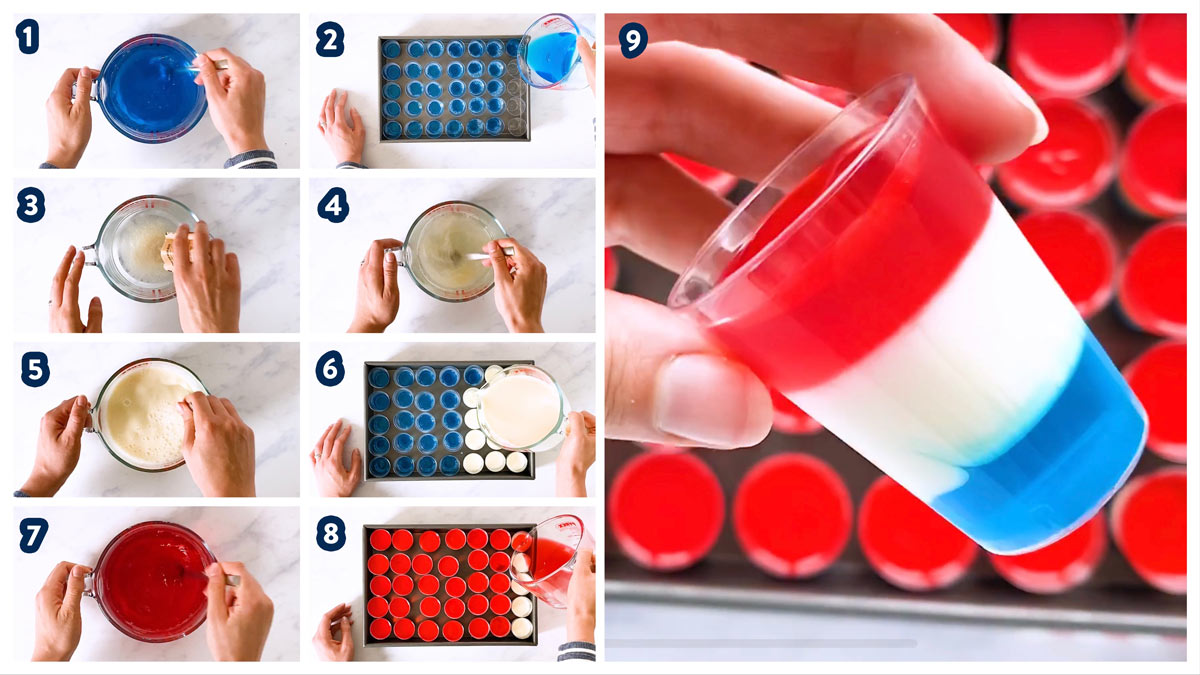 collage of steps to make red white and blue layered jello shots