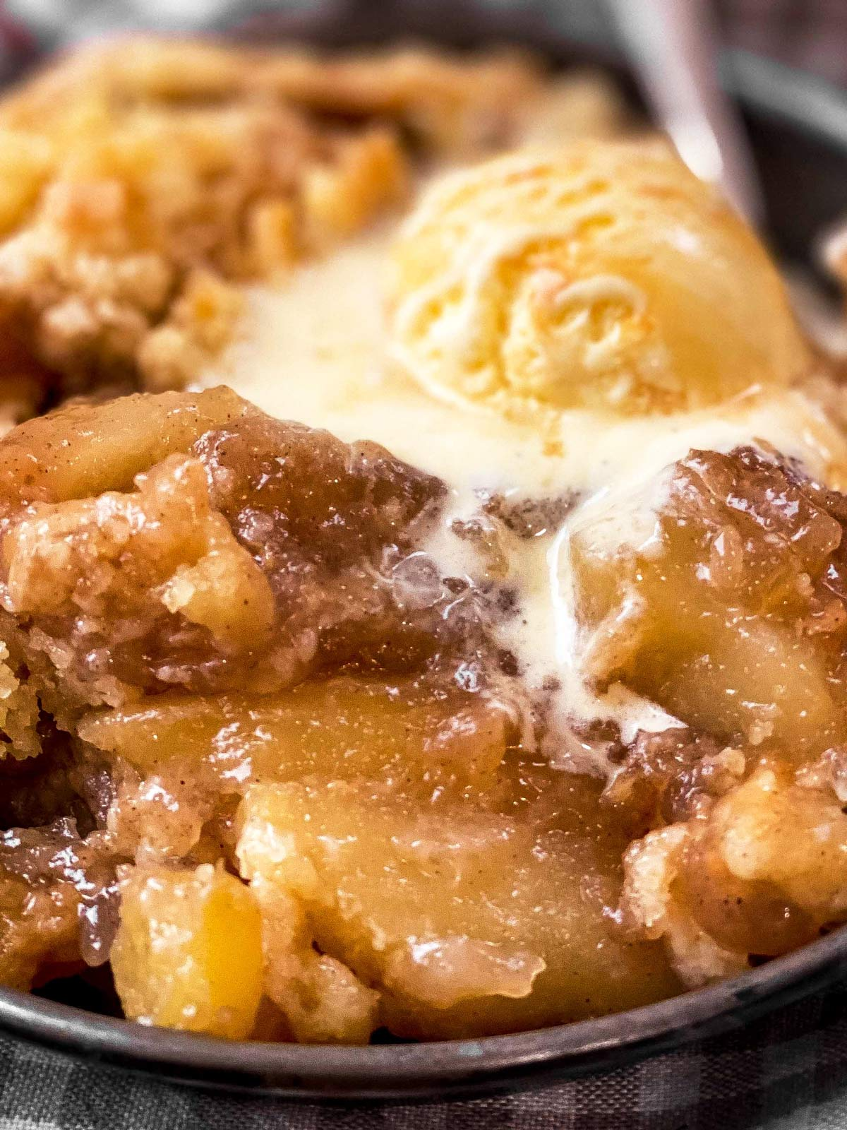 close up photo of apple dump cake