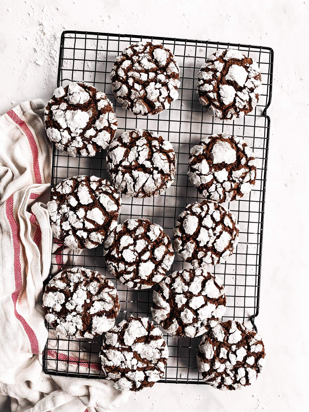 cooling rack with chocolate crinkle cookies