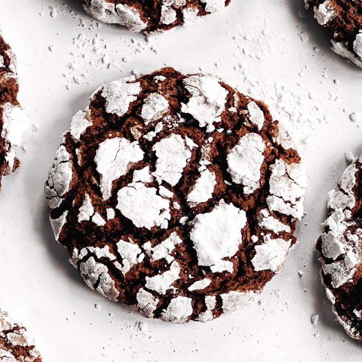 overhead view of chocolate crinkle cookie