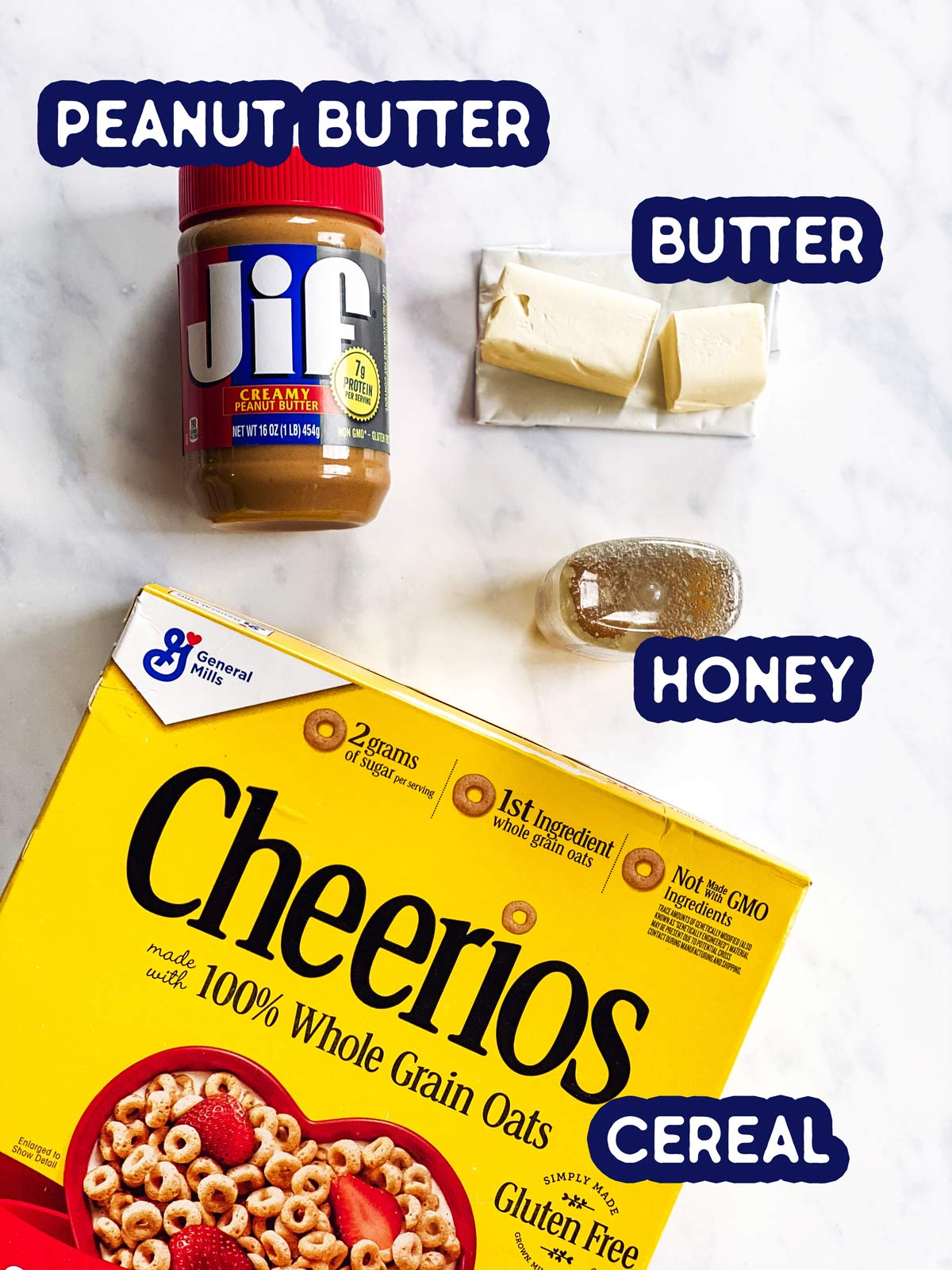ingredients for peanut butter cheerio bars with text labels