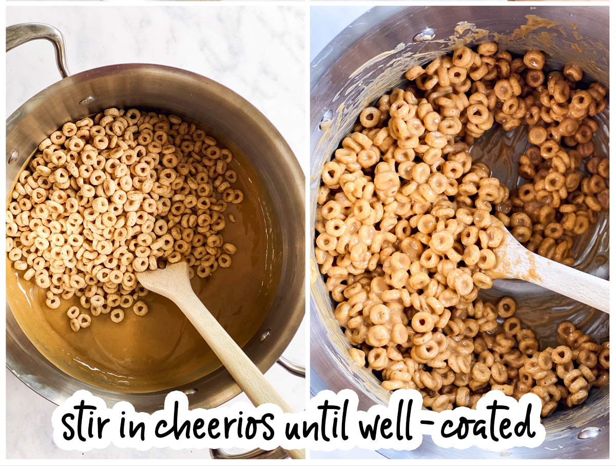 collage of images to show folding cheerios into peanut butter mixture