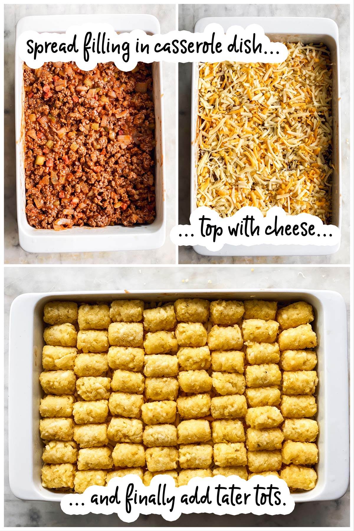 collage to show assembling a tater tot casserole