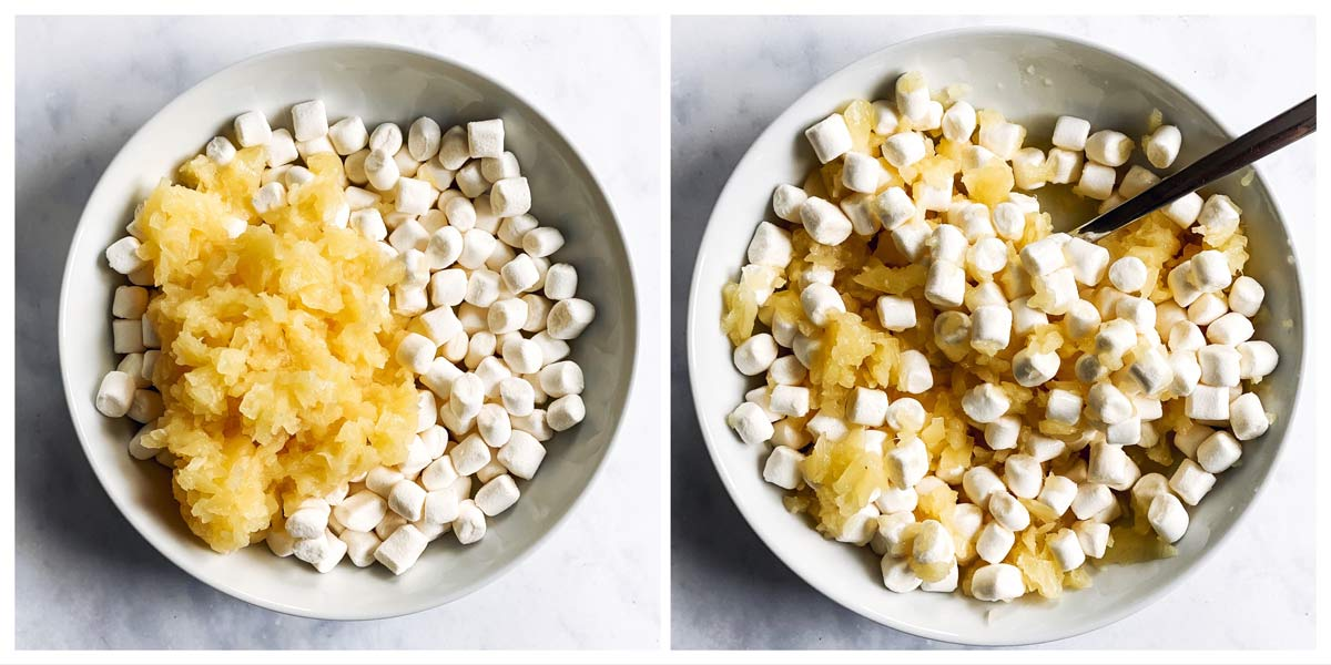 collage of pineapple and marshmallows in a bowl