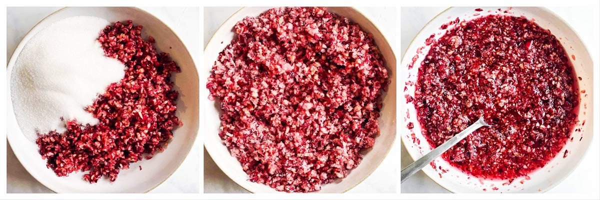 collage of cranberry relish in the making