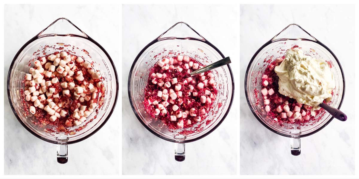 collage of cranberry fluff salad in the making
