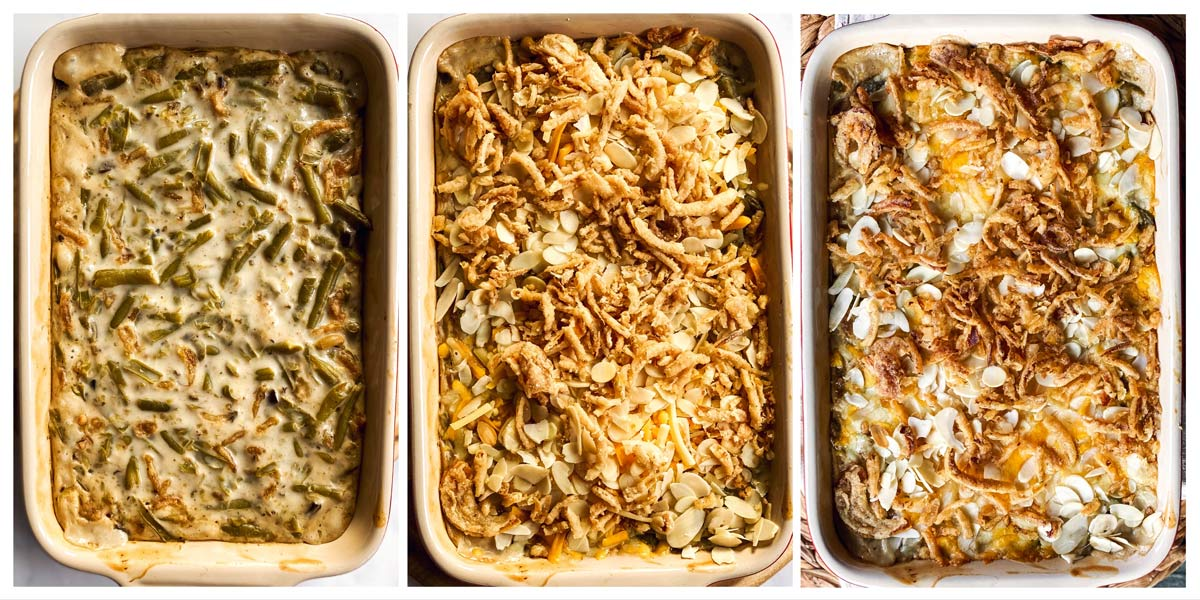 collage to show steps of baking green bean casserole