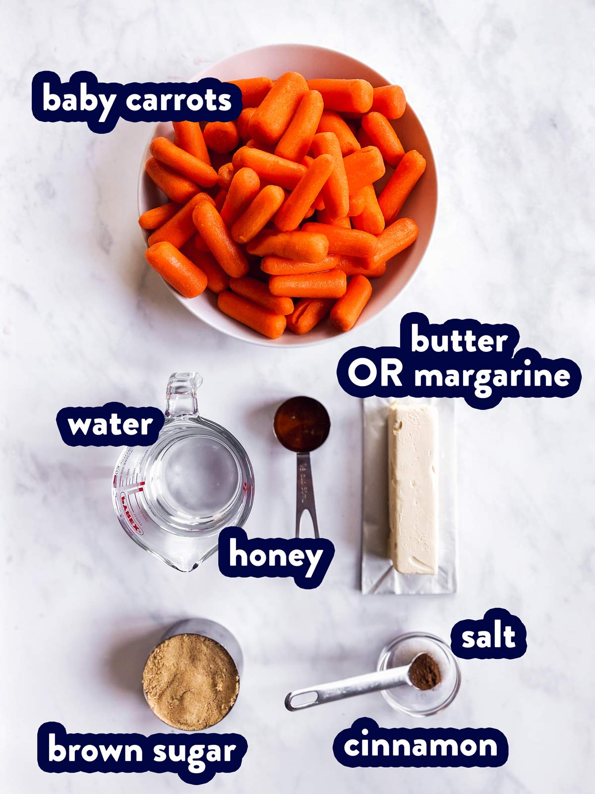 ingredients for instant pot glazed carrots with text labels