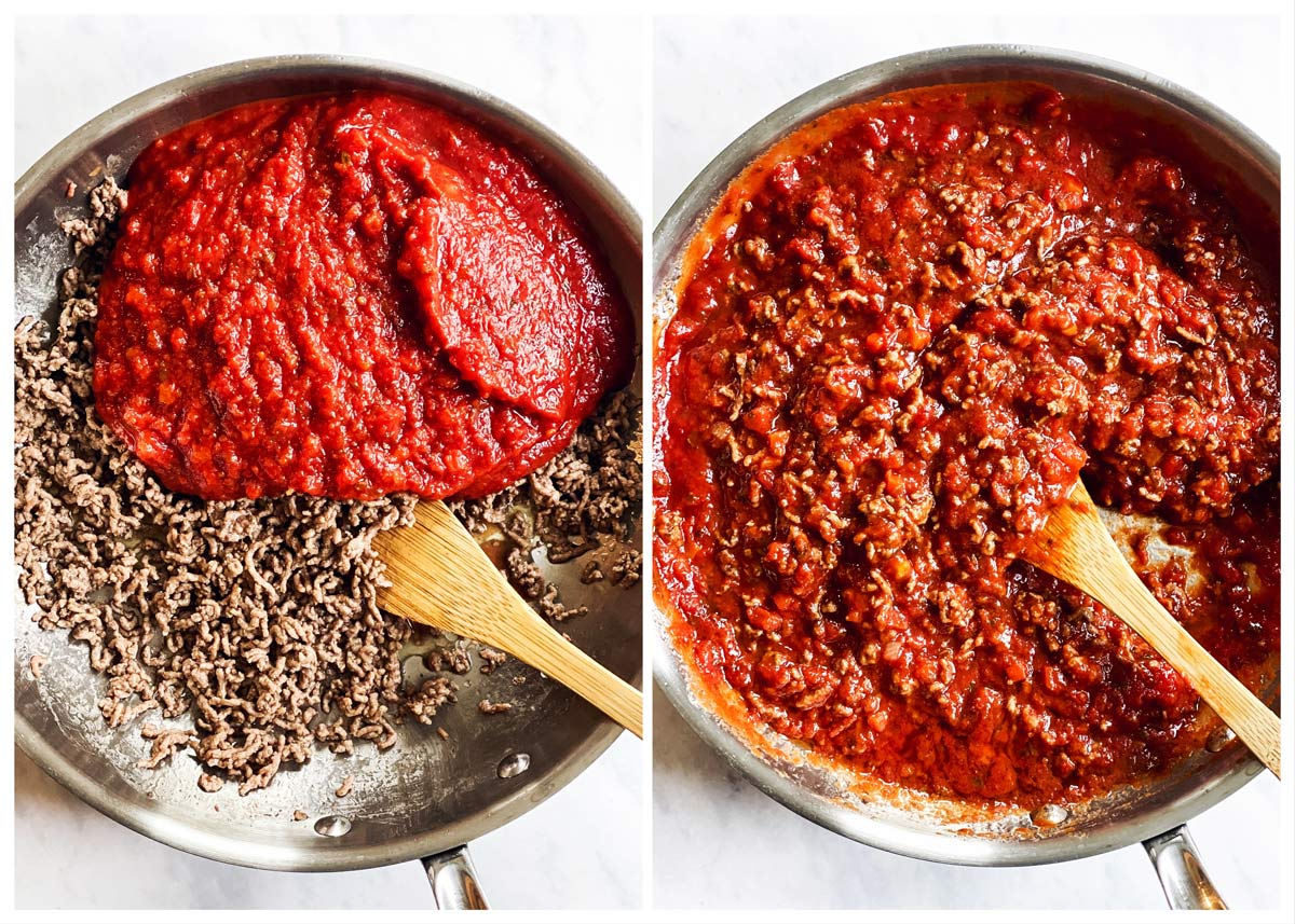 collage of images to show making easy lasagna meat sauce