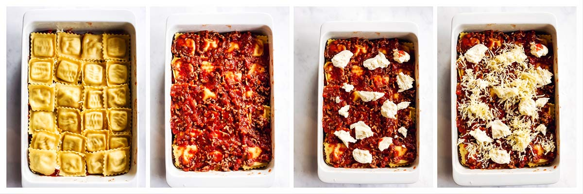collage to show second layer of a lazy lasagna