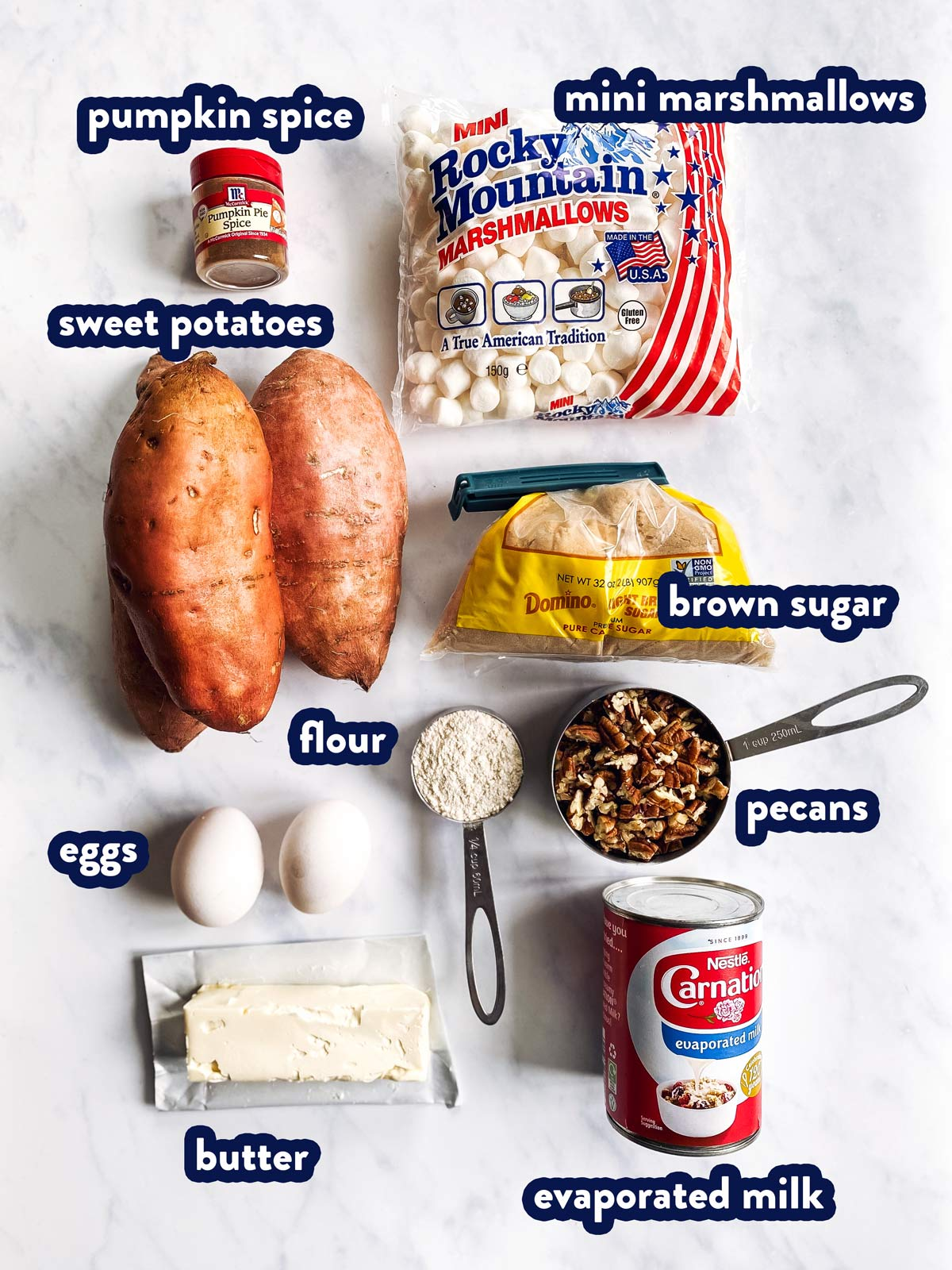 ingredients for sweet potato casserole with text labels