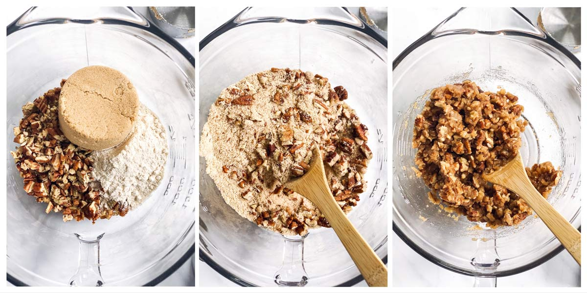 collage of steps to show making a sweet potato casserole praline topping