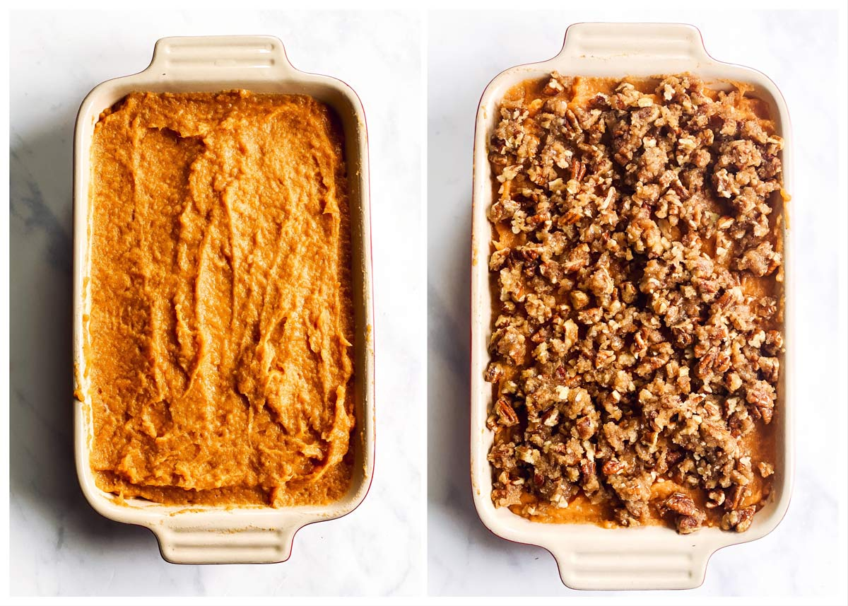 collage of steps to show assembling a sweet potato casserole