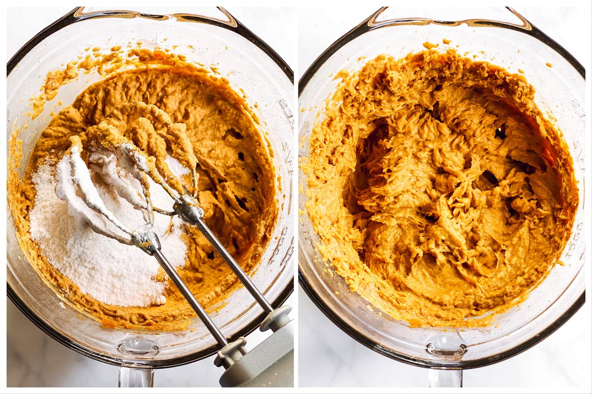 collage showing how to stir instant vanilla pudding into pumpkin dip