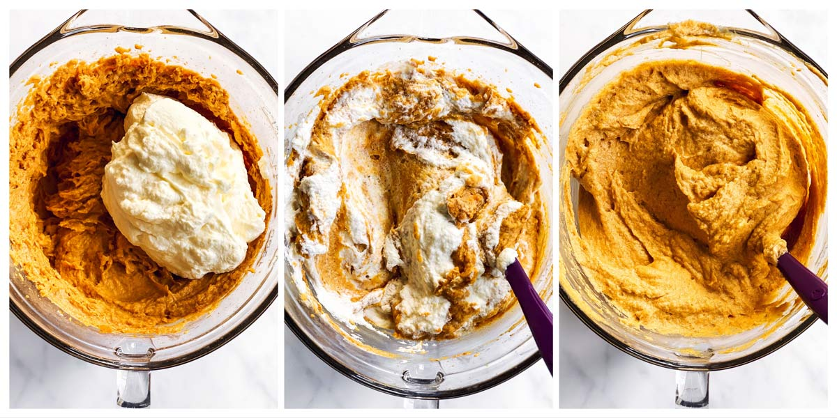 how to fold whipped topping into pumpkin dip