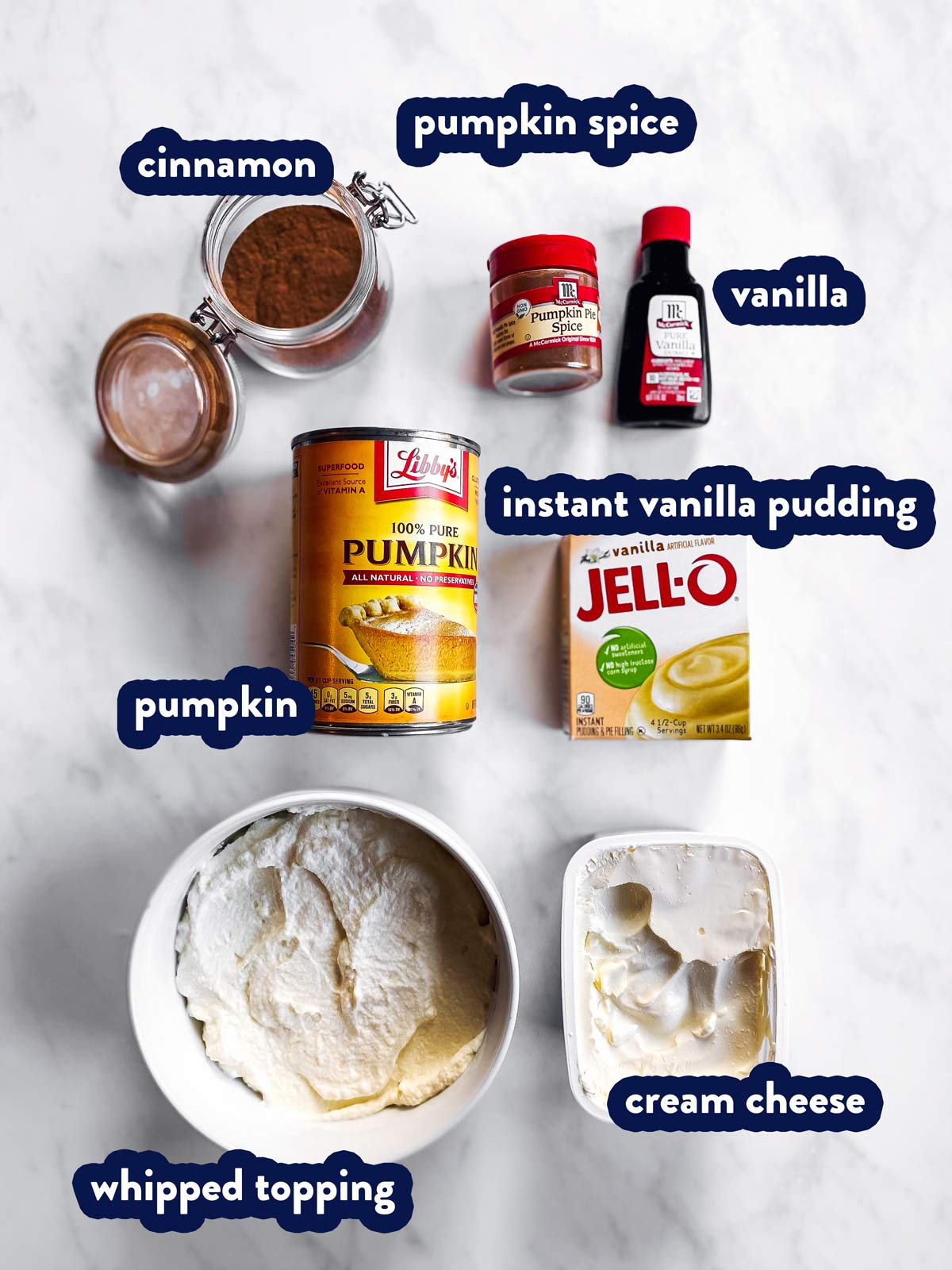 ingredients to make pumpkin fluff dip with text labels