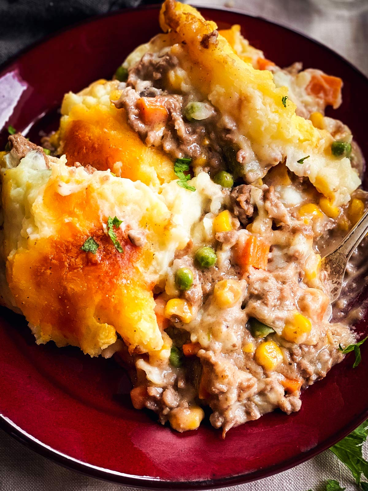 close up of shepherd's pie on red dinner plate