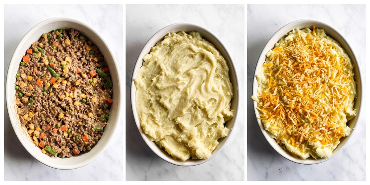 collage of steps to show how to assemble shepherd's pie