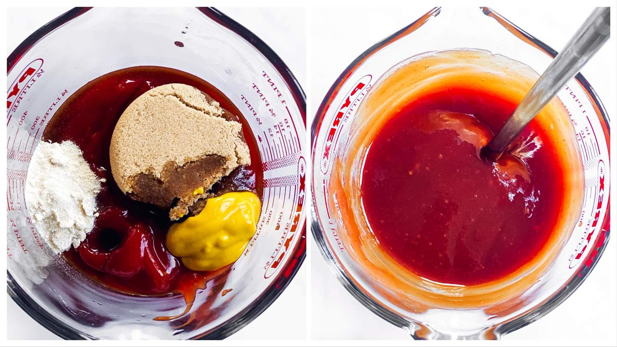collage of images that show how to make a ketchup glaze for meatloaf