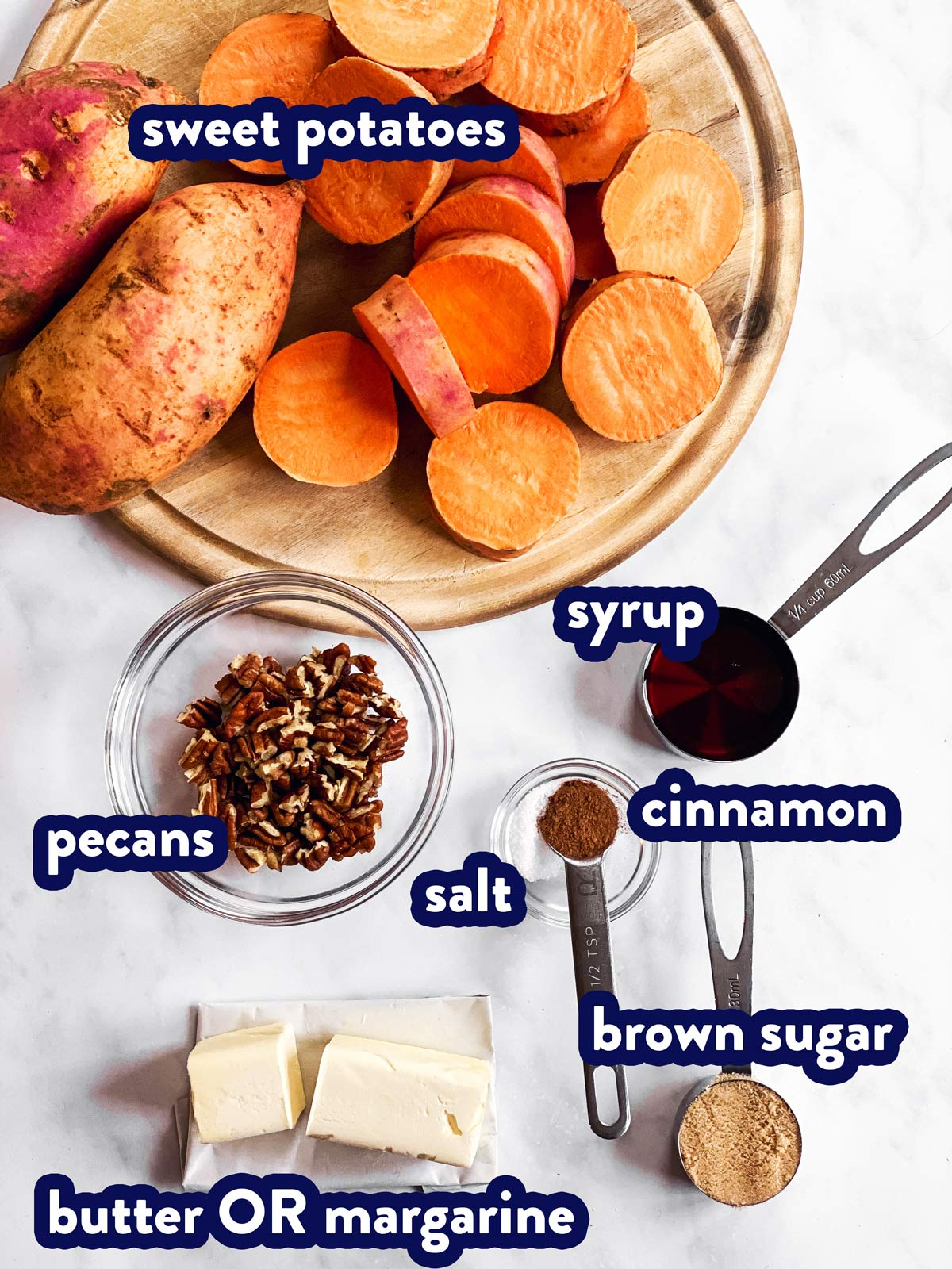 ingredients for baked sweet potato slices with text labels