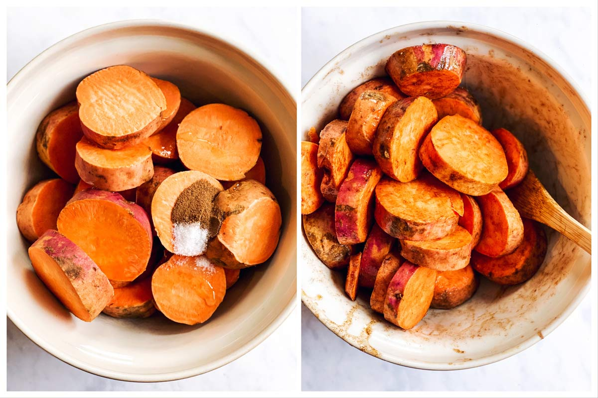 collage of photos to show tossing sweet potato slices with butter and seasoning