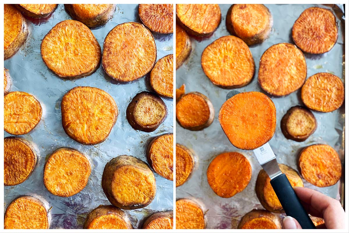 collage of images to show flipping baked sweet potato slices