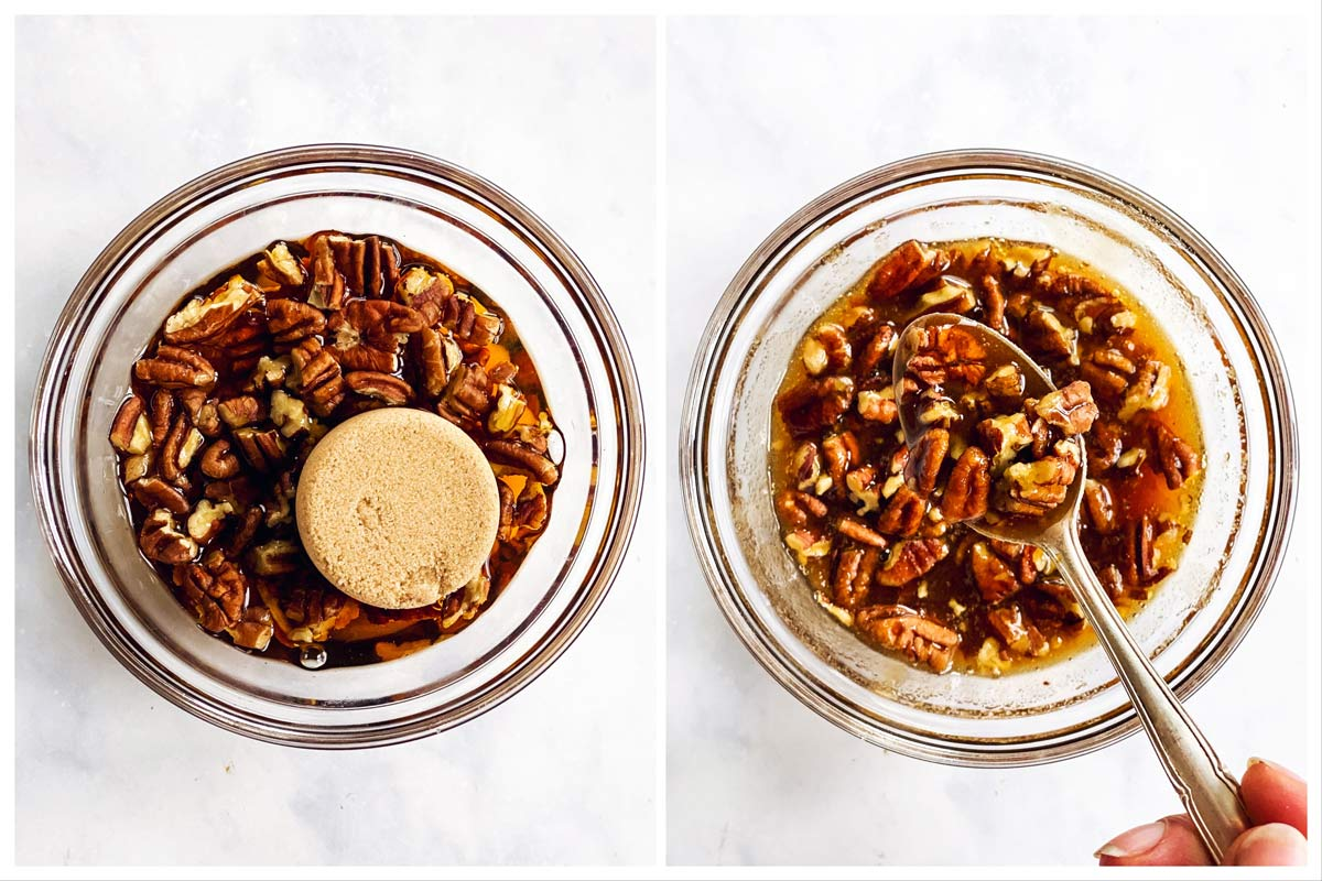 collage to show how to make a brown sugar pecan glaze