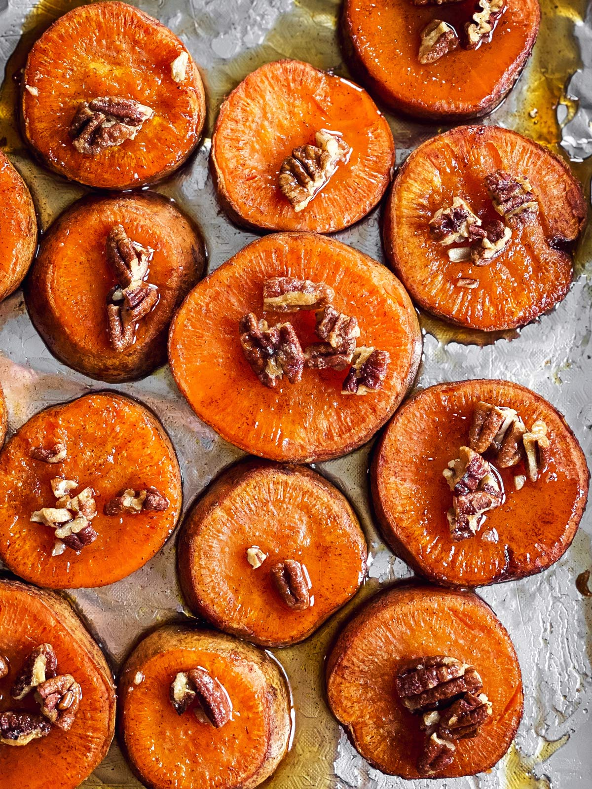 overhead view of baked sweet potato slices