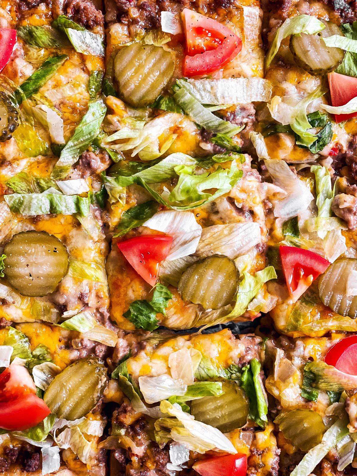 close up photo of Big Mac pizza