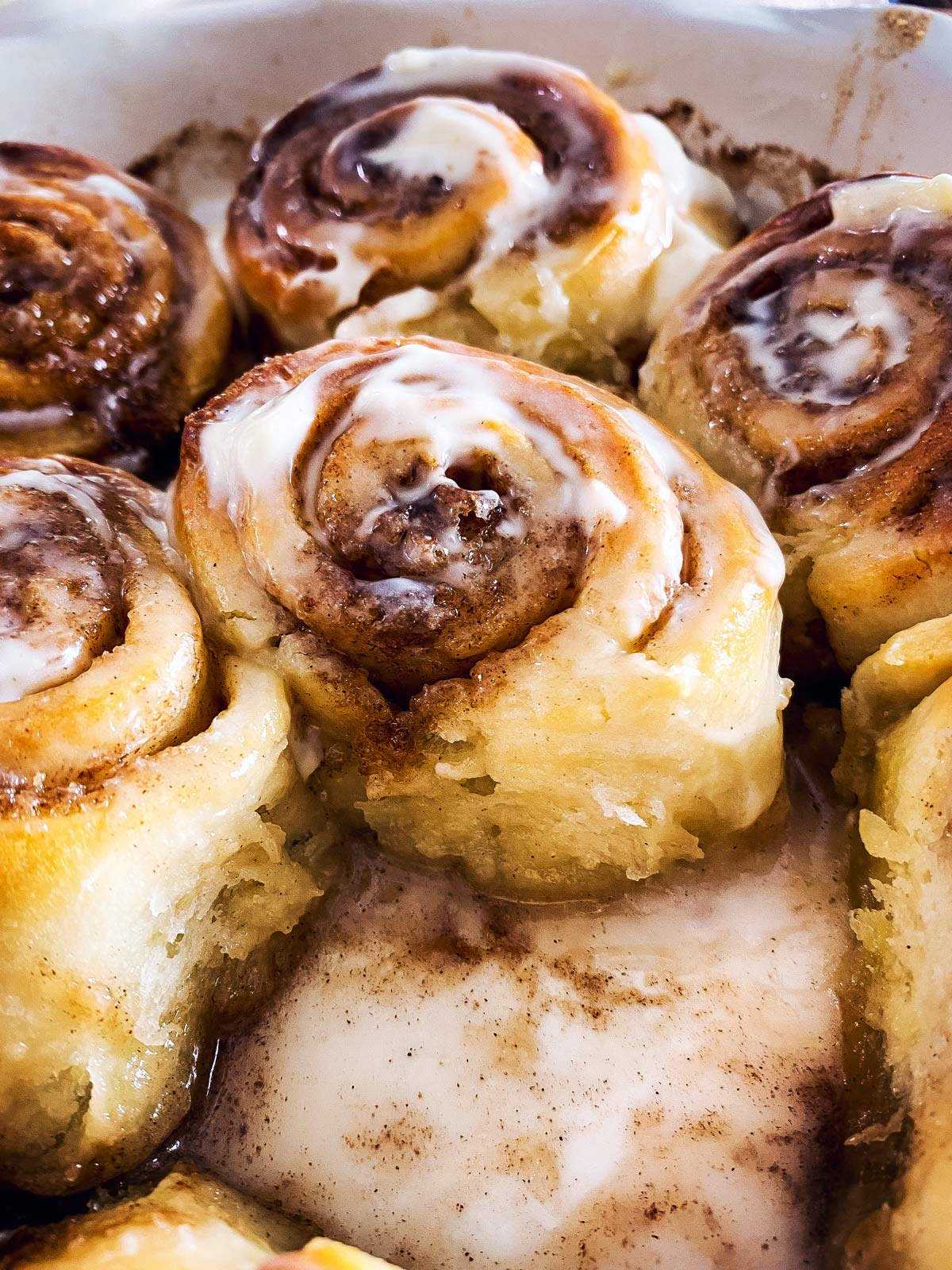 close up photo of cinnamon roll made with frozen bread dough