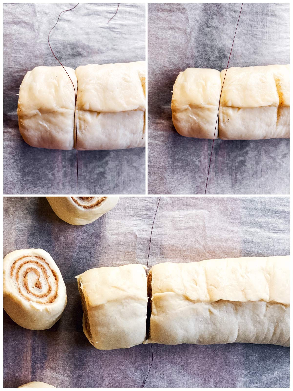 collage of photos to show slicing of unbaked cinnamon rolls