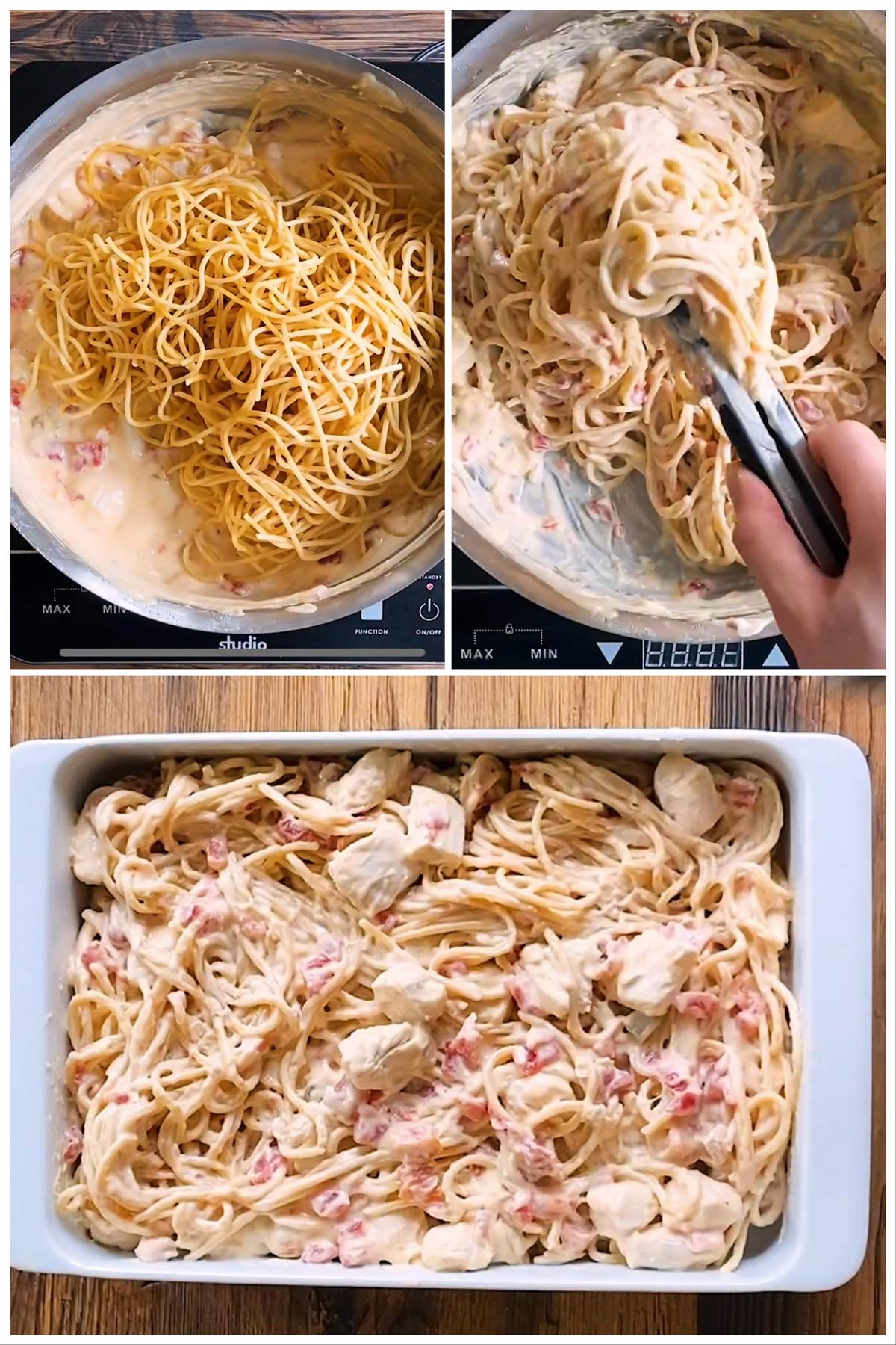 steps to show assembling chicken spaghetti
