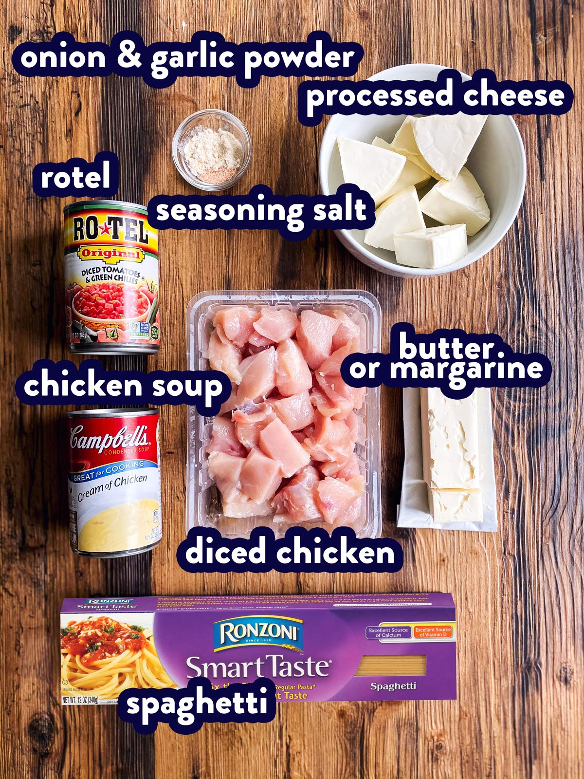 ingredients for Rotel chicken spaghetti with text labels