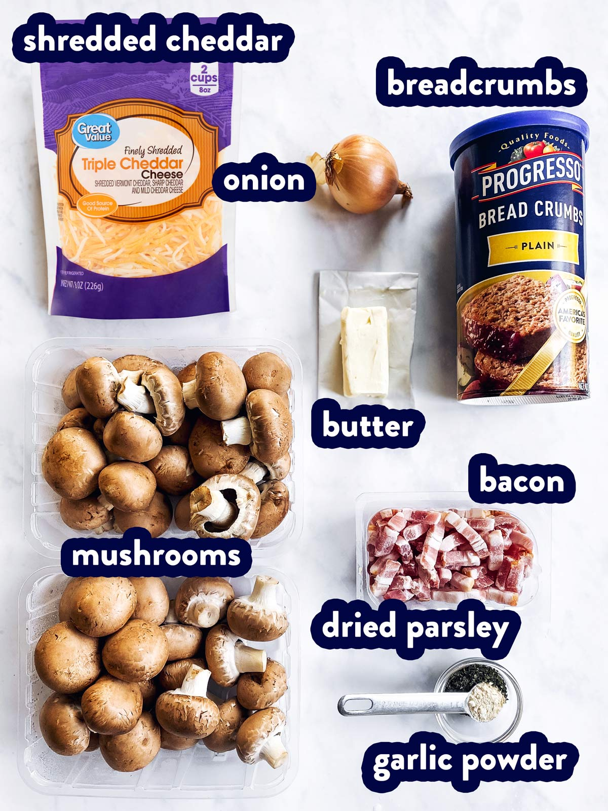ingredients for stuffed mushrooms with bacon with text labels