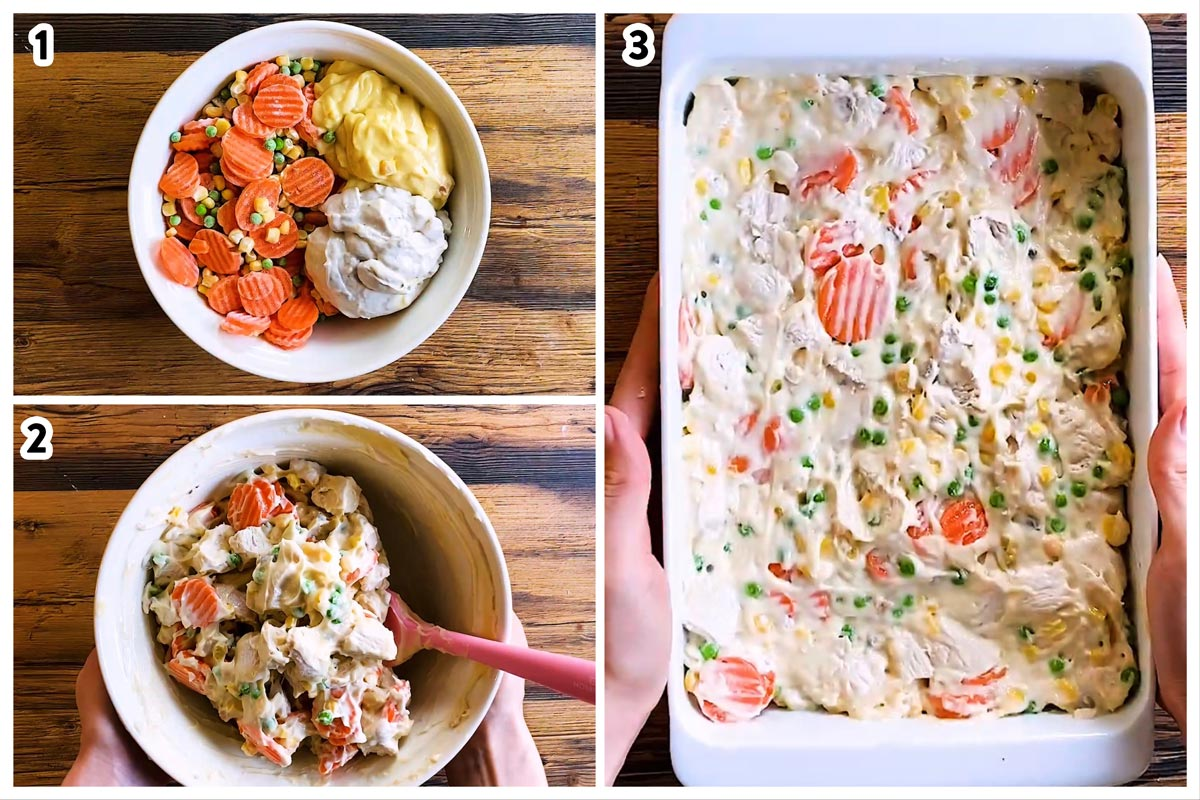 collage to show preparing the filling for leftover turkey pot pie