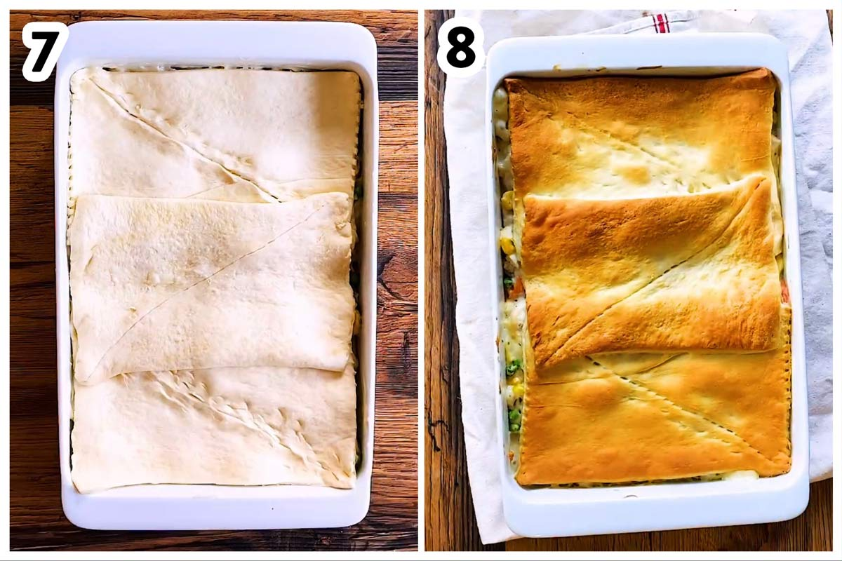 collage to show turkey pot pie before baking and after baking