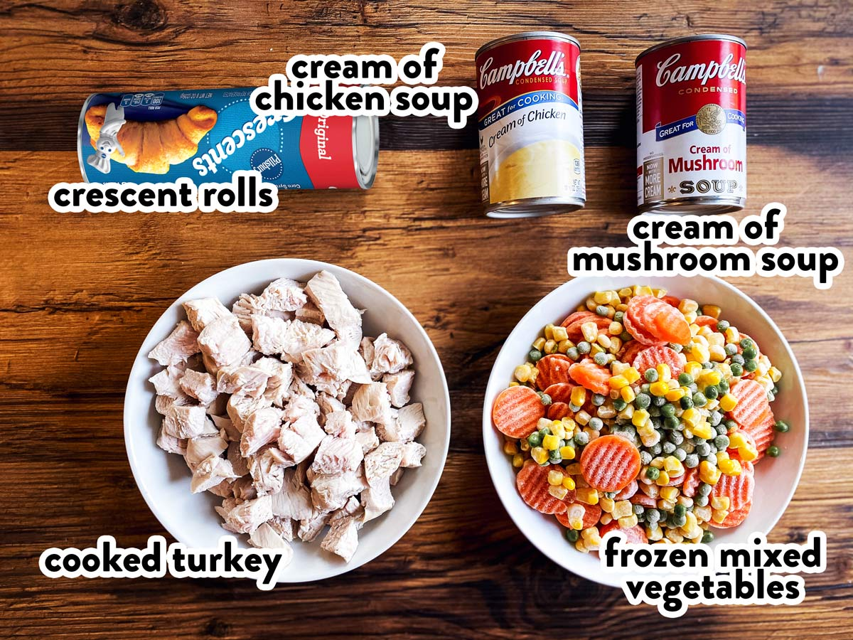 ingredients for turkey pot pie with text labels